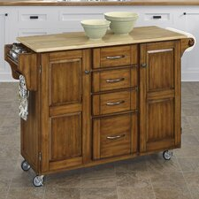 Adelle-a-Cart Kitchen Island with Butcher Block Top