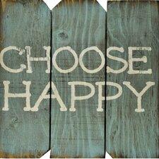 Choose Happy Wood Wall Décor