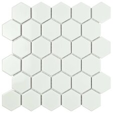 "Retro Hexagon 2"" x 2"" Porcelain Mosaic Tile in Glossy White"