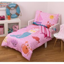 Mermaid 4 Piece Toddler Bedding Set