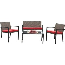 Beckham Outdoor 4 Piece Lounge Seating Group with Cushion