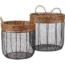 3 Piece Iron Wire Round Scoop Basket with Handles (Set of 3)