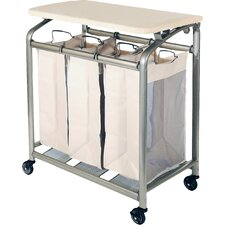 Deluxe Mobile 3 Bag Laundry Hamper Sorter with Folding Table