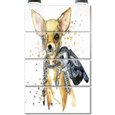 'Brown Toy Terrier Dog Watercolor' 4 Piece Graphic Art on Canvas Set