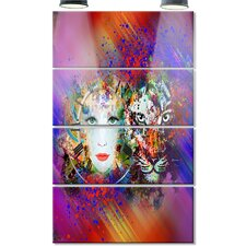 'Colorful Tiger and Woman Face' 4 Piece Graphic Art on Canvas Set