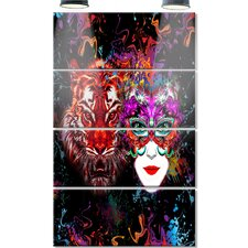 'Tiger and Woman Colorful Faces' 4 Piece Graphic Art on Canvas Set