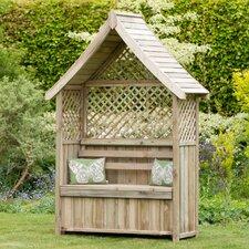 Rosenbogen Norfolk mit Banktruhe aus Holz