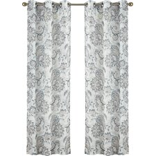Linda Paisley Sheer Grommet Single Curtain Panel