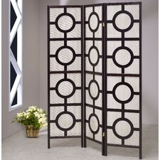"72"" x 54"" Jute Screen with Circle 3 Panel Room Divider"
