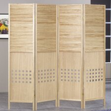 "72"" x 72"" Wood 4 Panel Room Divider"