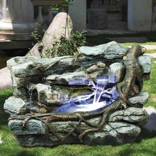 Canyon Resin Cascading Fountain Staggered Rock with LED Light
