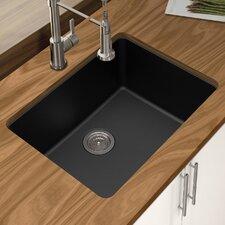 """Granite Quartz 25"""" x 18.5"""" Single Bowl Undermount Kitchen Sink"""