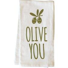 Olive You Green Tea Towel