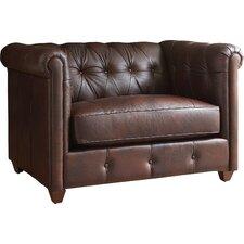 Keenan Leather Armchair and Ottoman