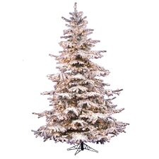 Flocked Sierra Fir 6.5' White Artificial Christmas Tree with 550 Clear Lights with Stand