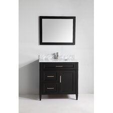 "Carrara Marble 36"" Single Bathroom Vanity with Mirror"