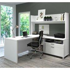 Pro-Linea L-Shape Executive Desk with Hutch