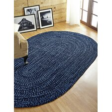 Chenille Reverible Tweed Braided Navy/Smoke Blue Indoor/Outdoor Area Rug