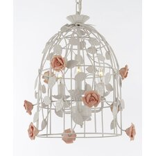 Wrought Iron Floral Bird Cage 3-Light LED Mini Chandelier