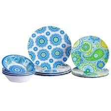 Boho Heavy Weight Melamine 12 Piece Dinnerware Set, Service for 4