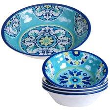 Granada 5 Piece Heavy Weight Melamine Salad Serving Bowl Set