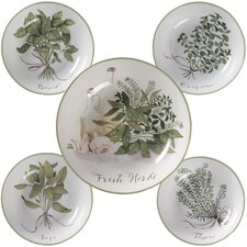 Fresh Herbs 5 Piece Pasta Bowl Set (Set of 5)