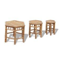 Gartenhocker-Set Bambus