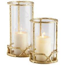 Enchanted Flame Aluminum and Glass Hurricane