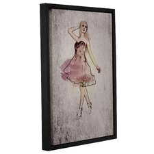 Fashion Girl in Pink Dress Framed Graphic Art on Wrapped Canvas