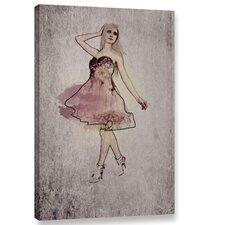 Fashion Girl in Pink Dress Graphic Art on Wrapped Canvas