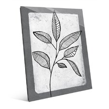 'Striped Leaves on White' Graphic Art on Glass