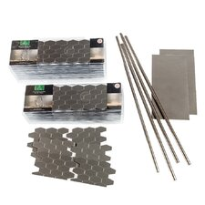 """4"""" x 6"""" Metal Peel & Stick Field Tile Kit in Brushed Stainless"""