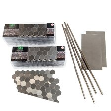 """4"""" x 12"""" Metal Peel & Stick Field Tile Kit in Brushed Stainless"""