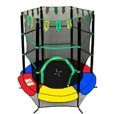 """Youth Jumping 55"""" Round Trampoline With Safety Enclosure"""