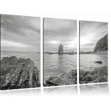 """3-tlg. Leinwandbild-Set """"Küstenlinie mit schönem Sonnenuntergang"""", Kunstdruck"""