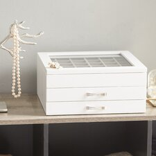Dupont Glass Top Jewelry Box in White
