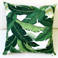 Island Hopping Emerald Tropical Palm Leaf Outdoor Pillow Cover (Set of 2)