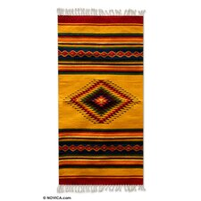 Zapotec Hand-Woven Yellow Area Rug