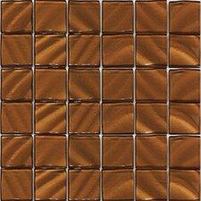 """Valverde 3D 2"""" x 2"""" Glass/Aluminum Mosaic Tile in Copper"""