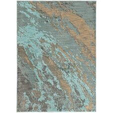 Modrest Marble Teal/Gray Area Rug