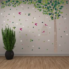 Green Tree and Swarovski Crystals Wall Sticker