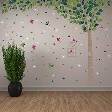 Green Tree and Swarovski Crystals Wall Sticker