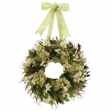 "Kings Garden 16"" Hydrangea/Natural Leaf Wreath"