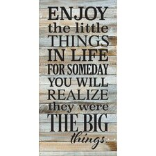 'Enjoy The Little Things in Life' Textual Art on Wood in Blue