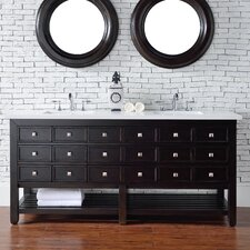 "Vancouver 72"" Double Cerused Espresso Oak Bathroom Vanity Set"