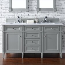 "Brittany 60"" Double Urban Gray Bathroom Vanity Set"