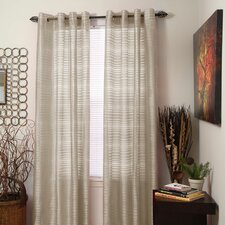 Thin Striped Sheer Grommet Single Curtain Panel