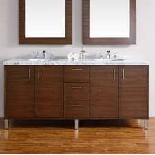 "Metropolitan 72"" Double American Walnut Bathroom Vanity Set"