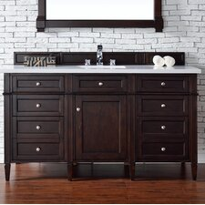 "Brittany 60"" Single Burnished Mahogany Bathroom Vanity Set"