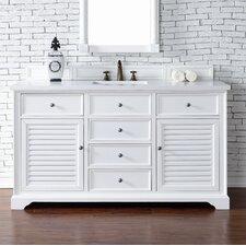 """Savannah 60"""" Single Cottage White Bathroom Vanity Set"""
